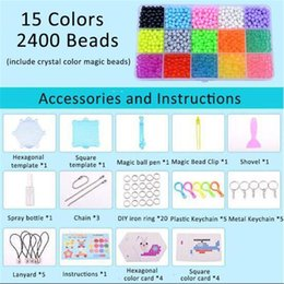 Discount perler beads for Aqua Beads DIY Set Aquabeads Tool Creativity Magic Fuse Perler Beads Pegboard Puzzles Kids Toys For Girls Children