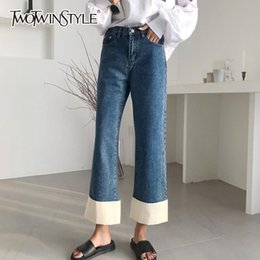 Bottoms 2019 Womens Patchwork Jeans Denim Pants Plaid Black High Waist Buttons Ankle Length Wide Leg Pants Casual Hot Sales B91335j
