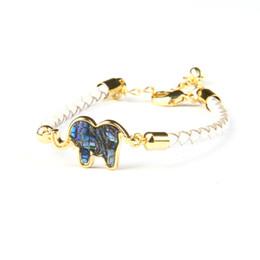 $enCountryForm.capitalKeyWord UK - Natural Abalone Shell Cz Elephant Bracelet With Genuine Leather Nice Adjustable Animal Jewelry Wholesale 10pcs lot