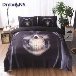 king size skull bedding 2018 - AHSNME Skull Bedding Set Skeleton with Hat Jogo de Cama King Queen Single Size Adults Bed Set Horror Black Bedclothes ch