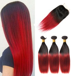 $enCountryForm.capitalKeyWord Australia - T1b Burgundy Ombre 3 Bundles With Lace Closure Cheap Two Tone Red Straight Brazilian Virgin Human Hair Weaves With Top Closure 4pcs Lot
