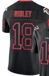 Hommes Atlanta 18 maillots 11 24 Broderie et 100% surpiqués 2019 Lights Out Jersey de football couleur noire Rush Limited
