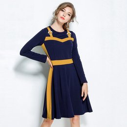 Female Dresses Canada - 5XL Large Size Dress Women 2019 Fashion Autumn Winter Patchwork Dresses Female Robe Femme Casual Long Sleeve Vestidos Mujer