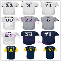 Milwaukee 6 Lorenzo Cain Ryan Braun 22 Christian Yelich 21 Travis Shaw Josh  Hader Arcia Villar Eric Thames Aguilar Nickname Baseball Jerseys ca43f2c47
