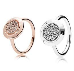 Auténtico anillo de plata esterlina 925 para las mujeres Pave Signature Silver Rose Gold Color para las mujeres regalo de boda fit Pandora joyería en venta