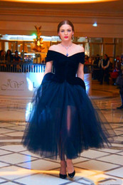 adult off shoulder evening dress 2020 - 2019 Elegant Arabic Navy Blue Prom Dresses Off The Shoulder Adult Tutu Dress Tea Length Plus Size Women Formal Occasion