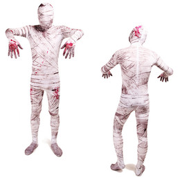 spandex zentai mummy NZ - Asian Size Hot Mummy 3D Full Hood Cosplay Costume Printing Lycar Spandex Party Soft Zentai Jumpsuit Bodysuit