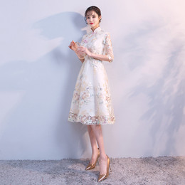 traditional chinese dresses evening Australia - Traditional Chinese Dress Qipao Ladies Evening Dresses Vintage Cheongsam Women Bride Short Champagne Lace Cheongsam Modern Dress
