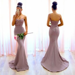 Discount light purple wedding reception dresses - New Backless Mermaid Bridesmaid Dresses 2018 Spaghetti Straps Appliques Maid of Honor Gowns Wedding Reception Baby Showe