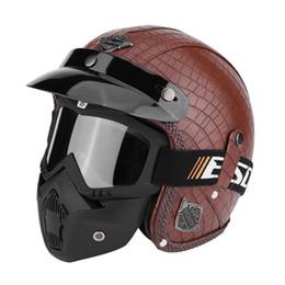 $enCountryForm.capitalKeyWord NZ - PU Leather Motor Helmets 3 4 Motorcycle Chopper Bike Helmet Open Face Vintage Motorcycle Helmet with Goggle Mask New