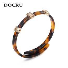 leopard print jewelry NZ - free shipping Unique Design Punk Style Bracelet Trendy Leopard Print Geometric Acrylic Bangles Charm For Women Jewelry Wholesale