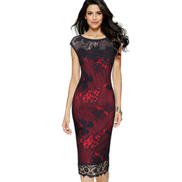 sexy red work dress UK - Women Party Sexy Crochet Butterfly Lace Party Bodycon Evening Mother of Bride Special Occasion Dress Elegant club wear robe