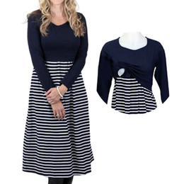 Plus Size Causal Women Long Sleeves Stripe Autumn Maternity Dresses 2018  Nursing Dresses Maternity Dress Pregnancy Clothes f31388440b6c