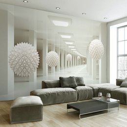 Custom Wall Mural Large Wall Painting Modern 3D Stereoscopic Abstract Art  Space White Ball Living Room TV Backdrop Wallpaper 3D Inexpensive Living  Spaces Tv
