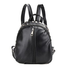 ladies backpacks for travelling NZ - Fashion Women Leather Backpacks Rivet Schoolbags for Teenage Girls Female Bagpack Lady Small Travel Backpack Mochila Black Bags