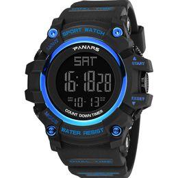 Wholesale Plastic Watch Bands UK - Waterproof Outdoor Backlight Plastic Band Alarm Sports Digital Men Wrist Watch Electronics Relojes
