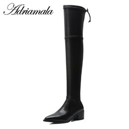 genuine leather over knee boots Australia - 2018 Genuine Leather Ladies High Heel Boots Pointed Toe Square Heel Cow Leather Genuine Over The Knee Boots Adriamala
