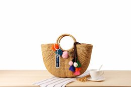 $enCountryForm.capitalKeyWord NZ - Wholesale 2019 Anti-Lost Hand-Woven Straw Bag Handmade Yellow Grass Weaving Handbags Colorful Tassel Wool Ball Beach Bag