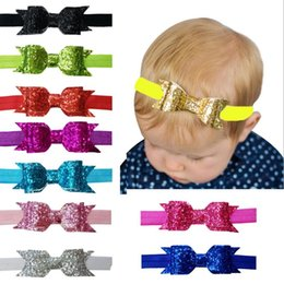 Sequin Headbands For Babies NZ - 10pcs Bow Elastic Headband For Baby Kids Glitter Sequin Solid Bow Hair Band Accessories Infant Bandeau Bebe Fille Gift Choice
