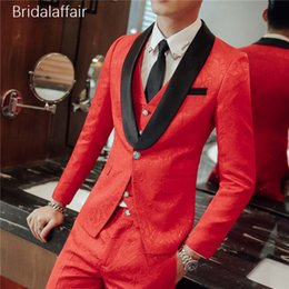 red tuxedos NZ - Gwenhwyfar Formal Shawl Lapel Mens Suits Red Jacquard Groom Tuxedo Tailored Men Suits for Wedding Prom 3Pcs (Jacket+Pants+Vest)