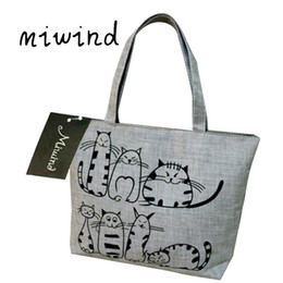Cute Canvas Handbags Australia - Miwind Women's Cute Cartoon Music Cats Printed Shopping Handbag Ladies One Shoulder Canvas Bags Female Beach Bag Sac A Main