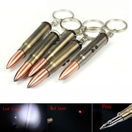 Flashlight Pens Wholesale Australia - 3 in 1 Mini LED Flashlight Red Laser Pointer Torch Light Ball Pen Bullet Keychain Light 2 Modes Teaching Pen Lamp