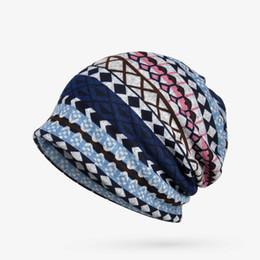 $enCountryForm.capitalKeyWord Australia - Winter Hats For Women Turban Hat Female Plaid Stripe Pattern Hat Thick Warm Velvet Hats For Men Knitted Cap Beanie New