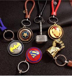 $enCountryForm.capitalKeyWord Canada - The Avengers Series unique bag pendants Superman Captain American revolving shield key chains Accessories bag pendants wholesale