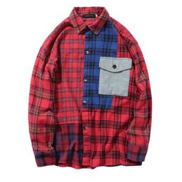 Mens patchwork plaid shirts online shopping - 2018 Autumn Color Block Patchwork Mens Red Plaid Shirts Hip Hop Casual Long Sleeve Pocket Shirts Fashion Male Shirts