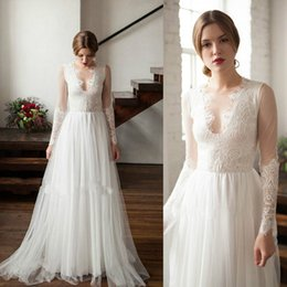 $enCountryForm.capitalKeyWord Australia - Princess jewel illusion Beach Long Sleeve Lace Wedding Dresses Floor Length Tulle Simple Country Bohemian Cheap Bridal Gown vestito da sposa