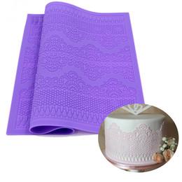 Wedding Lace Patterns UK - 39*29 big Silicone Mat lace cake Fondant Flower Pattern sugar lace mould wedding Cake Decorating Mold baking
