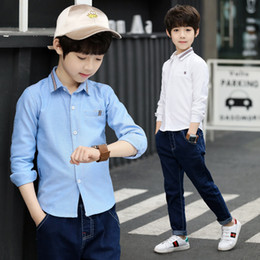 school shirts for boys 2019 - children's clothes boys spring shirts long sleeved casual shirts daily shirts for boys school style clothing