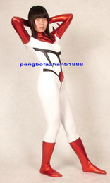 red white costumes NZ - New Red White Shiny Lycra Metallic Suit Catsuit Costumes Unisex Sexy Body Suit Costumes Outfit Halloween Party Fancy Dress Cosplay Suit P260
