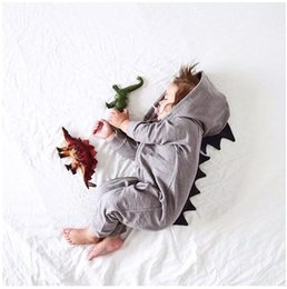 hoodie jumpsuits rompers Australia - Cute Baby Dinosaurs Rompers Spring Autumn Toddler Long Sleeve Climbing Suits Infant Zipper Hoodies Jumpsuits Kids One-Piece 6-18M 3pcs lot