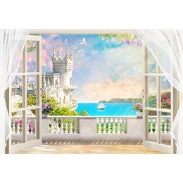 Sul mare Villa Balcone Fotografia Fondale Stampato Tende Porte Natura Paesaggio Spiaggia Matrimonio Scenic Shoot Sfondi
