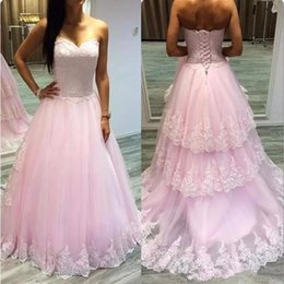 plus size prom dresses princess 2021 - Princess Pink ball gown Prom Dresses Long 2019 Sweetheart Lace Appliques A Line Lace Up Tulle plus size Formal Party Evening Gown