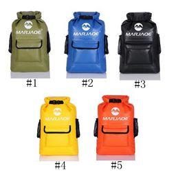 Shoulder Straps Backpack NZ - 22L 16L Waterproof Backpack Outdoor Camping Rafting Drifting Dry Bag With Padded Shoulder Straps DDA725 Five Colors
