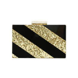 $enCountryForm.capitalKeyWord NZ - Gold Glitter Solid Black Acrylic Clasp Bolsa Feminina Luxury Handbags Women Ladies Hand Bags Designer Acrylic Clutch Box Bags
