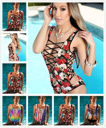 skull piece swimsuit NZ - New Sexy Bandage One Piece Swimsuit Sets Deep V Swimwear 3D Skull Red Rose Printed Women Monokini Female Bodysuit Bathing Suit