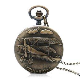 China Bronze Vintage Fokker Dr.1 Plane 3D Design Quartz Pocket Watch Necklace Pendant Men Women Gift Reloj De Bolsillo suppliers