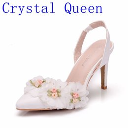 white wedding sandals flower 2019 - Crystal Queen White Lace Flower Bridal  Wedding Shoes Fine Pointed b09940d5f1a3