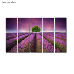 $enCountryForm.capitalKeyWord NZ - Large Modern Print Painting Contemporary Livring Room Lavender flowers Landscape sunrise Painting Wall Art 5 Piece Home Office Decor Aset053