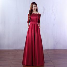 Lace Satin Bridesmaid Dresses with Half Sleeves Burgundy 2019 Long Wedding  Guest Dresses Vestidos De Dama De Honor 67f4a6a8a78c