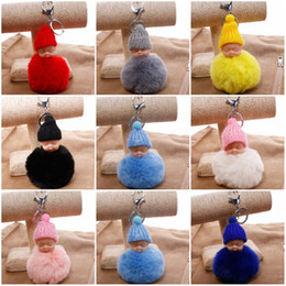 Dolls fur balls online shopping - Cute Fur Ball Keys Buckle Cartoon Sleeping Baby Doll Key Chains Knapsack Pendant Novelty Gift Multi Color qs C