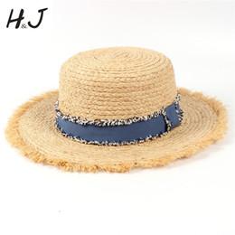 $enCountryForm.capitalKeyWord Australia - Summer Raffia Women Beach Sun Hat For Elegant Lady Tassel Flat Pork Pie Bucket Sun hatGarland Sunbonnet With Denim Ribbon