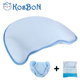 anti flat head pillow baby Australia - Nature Bamboo Cotton Soft Anti Roll Memory Foam Baby Head Positioner Pillow,Prevent Flat Head For 3 Months - 2 Year Infant(blue)