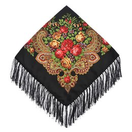 Scarf Square Cotton Australia - National style retro fringed square scarf spring summer autumn and winter square scarf bohemian flower print scarf