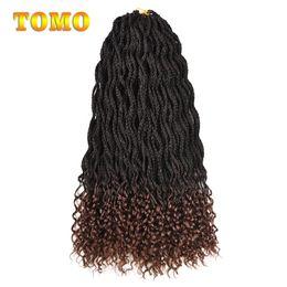Discount crochet braids - TOMO Mix Brown Color Crochet Braids Wavy Roots Curly End Box Braids Heat Resistant Synthetic Fiber Braiding Hair Extensi