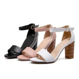 bfc9cf50fefb Wholesale-Fashion Shoes Women Sandals Summer Open Toe Ankle Strap Career  Chunky High Heels White Pink Ladies Shoes Big Size 9 10 40 41