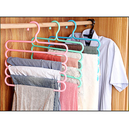 Layer Pants Canada - Random Color anti-skid trousers rack Hanger multi-function 5 layer pants hanger scarf silk tie mounts Plastic Cloth Rack Clothes Peg